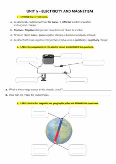 Interactive worksheet Unit 6 - Electricity and magnetism - 6th Grade - EXAM