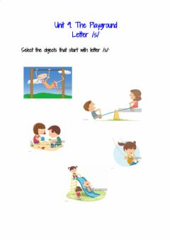 Interactive worksheet K1. unit 9. the playground letter -s-