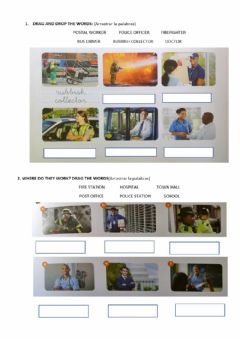 Ficha interactiva Places and jobs