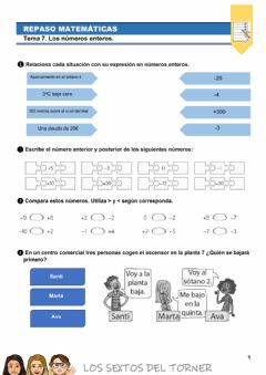 Interactive worksheet Repaso Números Enteros
