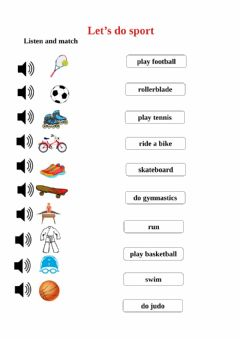 Interactive worksheet Let's do sport