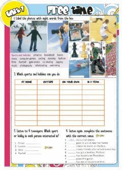 Ficha interactiva Sports and Hobbies