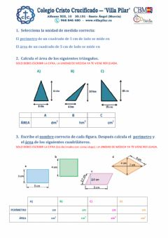 Interactive worksheet Áreas figuras