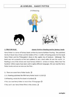 Interactive worksheet J.K. Rowling and Harry Potter