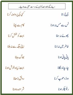 Interactive worksheet Urdu Muhawary