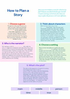 Interactive worksheet How to plan a story