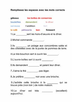 Interactive worksheet Alimentation