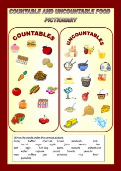 Ficha interactiva Countable - Uncountable nouns