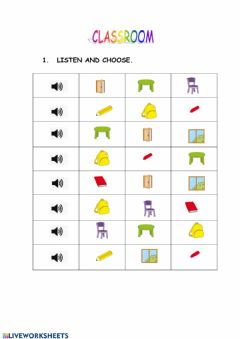 Interactive worksheet Clasroom vocabulary