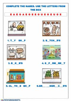 Interactive worksheet Complete the names