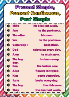 Interactive worksheet Present Simple, Continuous and Past Simple