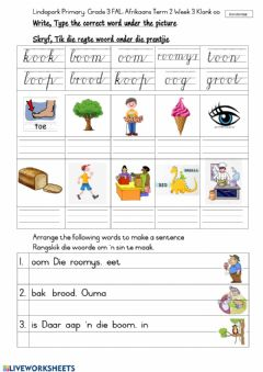 Ficha interactiva Grade 3: FAL Afrikaans Term 2 Week 3 Worksheet 3 Thursday