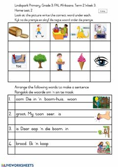 Interactive worksheet Grade 3: FAL Afrikaans Term 2 Week 3 Home-test: Friday