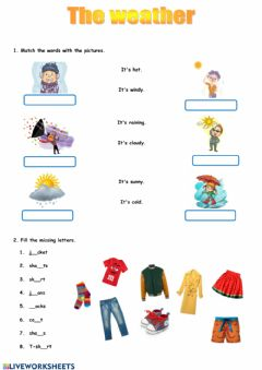 Interactive worksheet Weather and Clothes