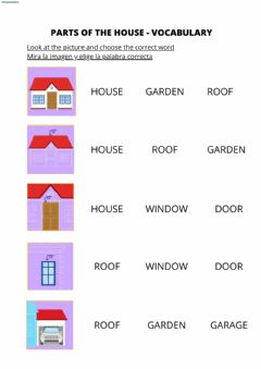 Interactive worksheet Parts of the house vocabulary