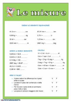 Interactive worksheet La misura