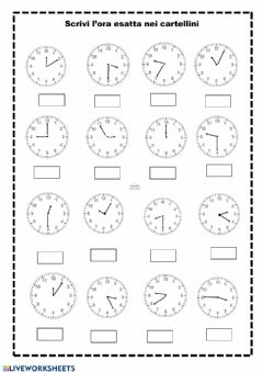 Interactive worksheet Storia: l'orologio