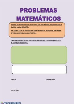 Interactive worksheet Inventamos problemas
