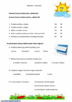 Interactive worksheet Priroda - Proljeće