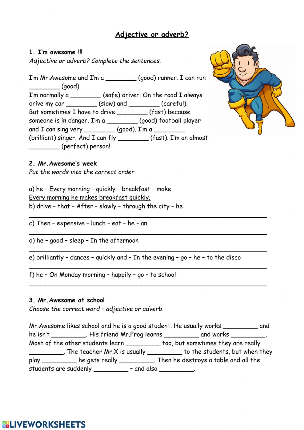 Adjective or adverb   Interactive worksheet