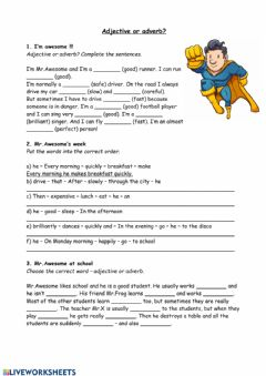 Interactive worksheet Adjective or adverb