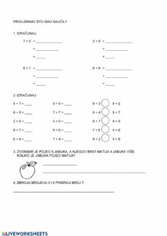 Interactive worksheet Zbrajanje vježba 2