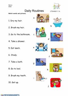 Interactive worksheet Daily Routines (vocabulary)