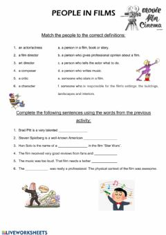 Interactive worksheet People in films