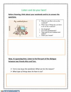 Interactive worksheet Household chores listening