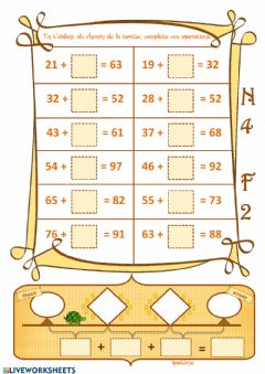 Interactive worksheet Additions lacunaires jusque 100