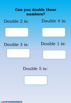 Interactive worksheet Double facts
