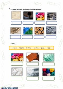 Interactive worksheet Natural and manufactured materials