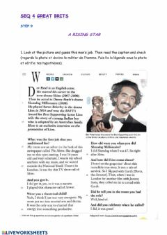 Interactive worksheet Dev patel biography