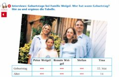 Interactive worksheet Geburtstage bei Familie Weigel
