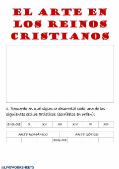 Interactive worksheet El arte en la Edad Media