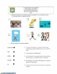 Interactive worksheet Song Comprehension