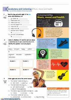 Ficha interactiva Music, mood and health