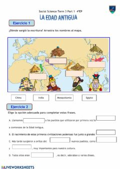 Interactive worksheet LA EDAD ANTIGUA, Parte I