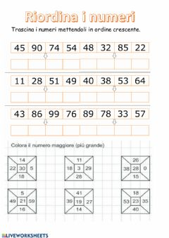 Interactive worksheet Confronta i numeri