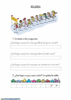 Interactive worksheet Los números ordinales