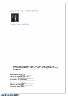 Interactive worksheet Listening to the song : Home by Michael Buble