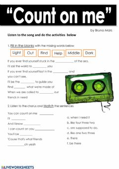 Interactive worksheet Count on me - Bruno Mars