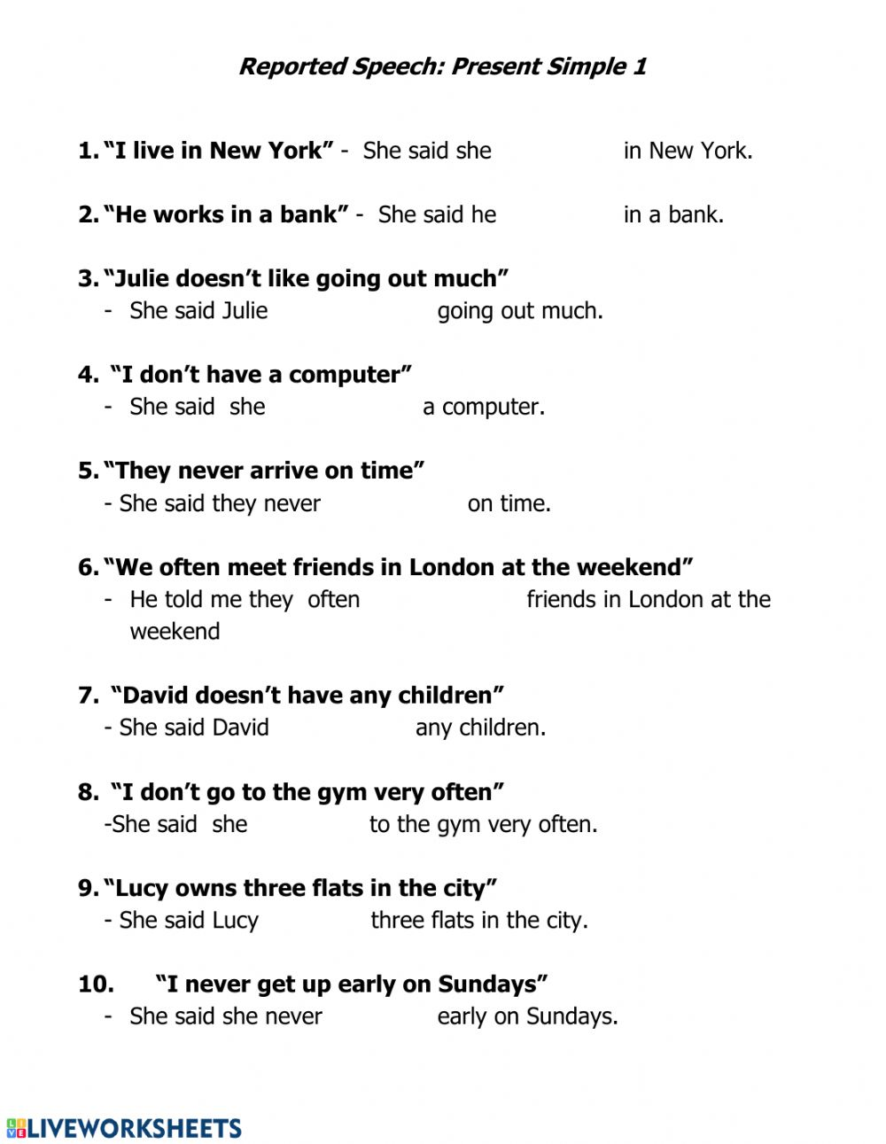 Reported Speech  Simple Present I worksheet