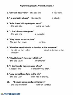 Interactive worksheet Reported Speech- Simple Present I