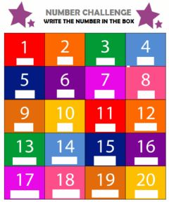 Ficha interactiva CHALLENGE: Numbers from 1 to 20