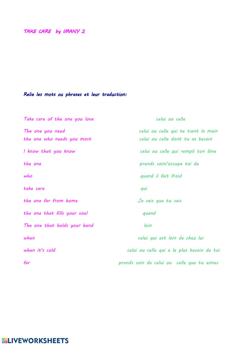 Take care imany 2 - Interactive worksheet