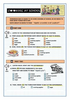Interactive worksheet Recipe listening