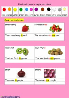 Interactive worksheet Food and one colour