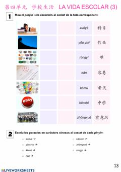 Interactive worksheet Básico 1 Tema 4 Vida Escolar 5