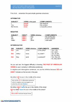 Interactive worksheet 002 Past simple irregular verbs grammar